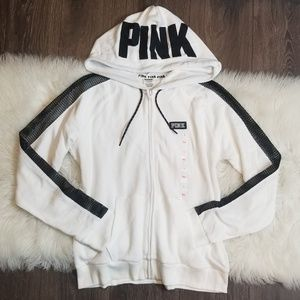Victoria's Secret PINK Mesh Stripe Logo Hoodie